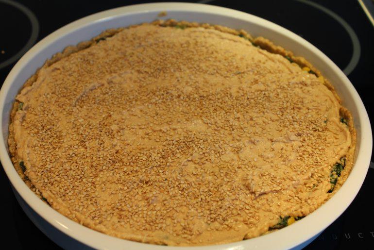 Spinattærte klar til bagning