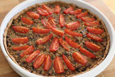Vegansk champignonpaté-tærte
