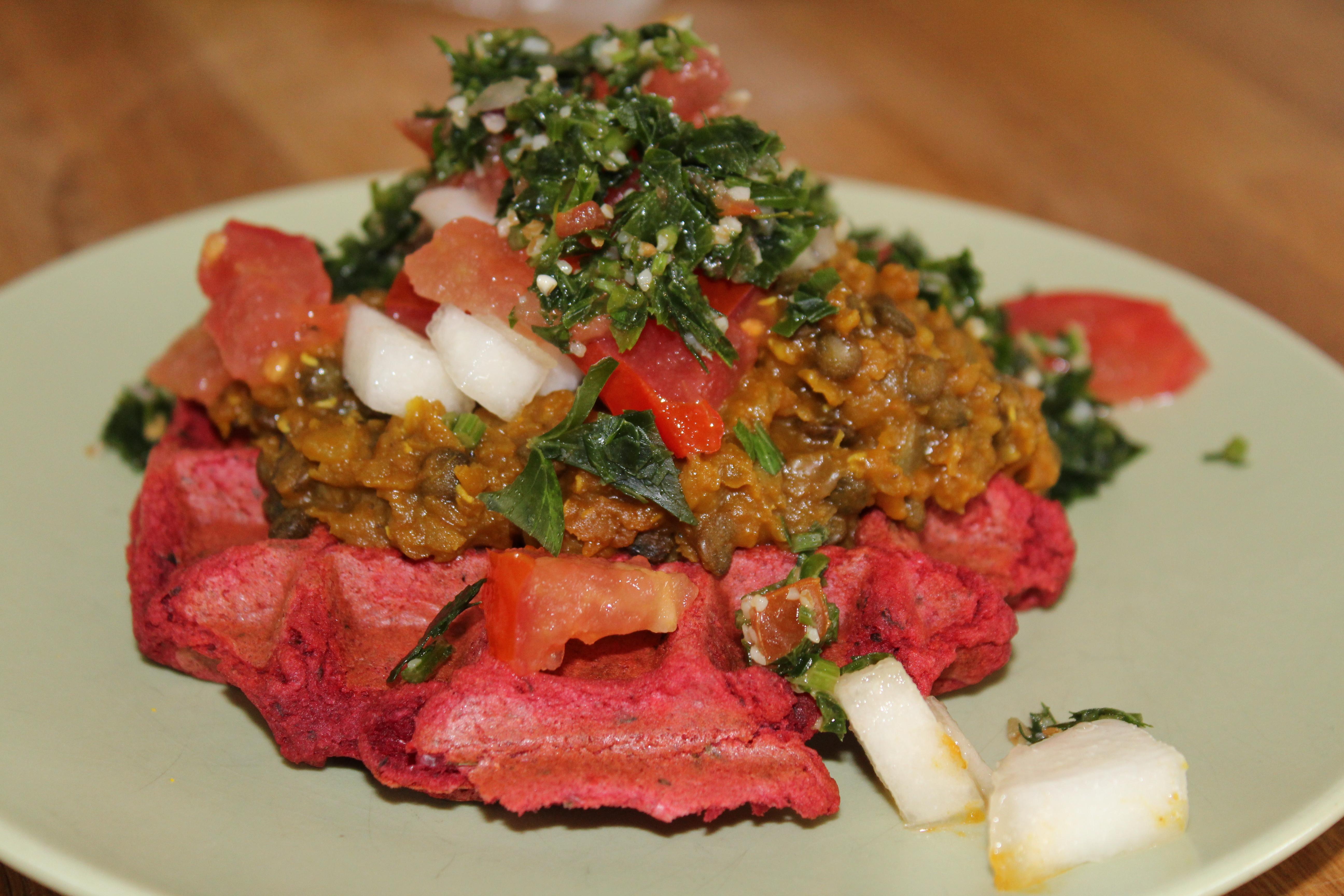 Vegansk rødbedevaffel