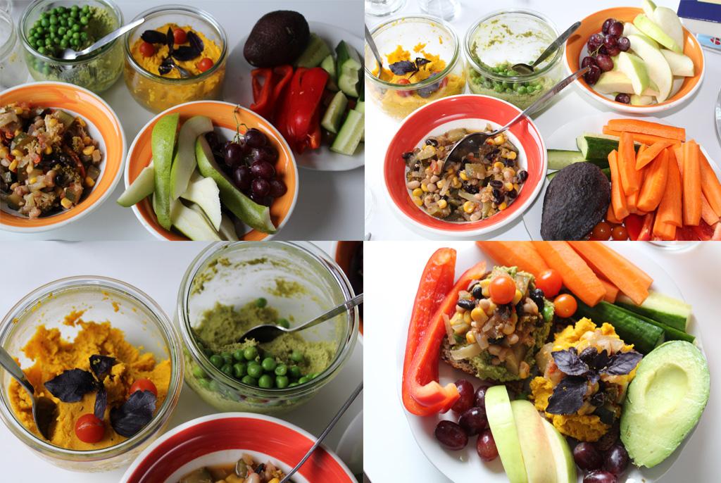 Frokost med smørepålæg, grøntsager og frugt, samt rester af chiligojigryde