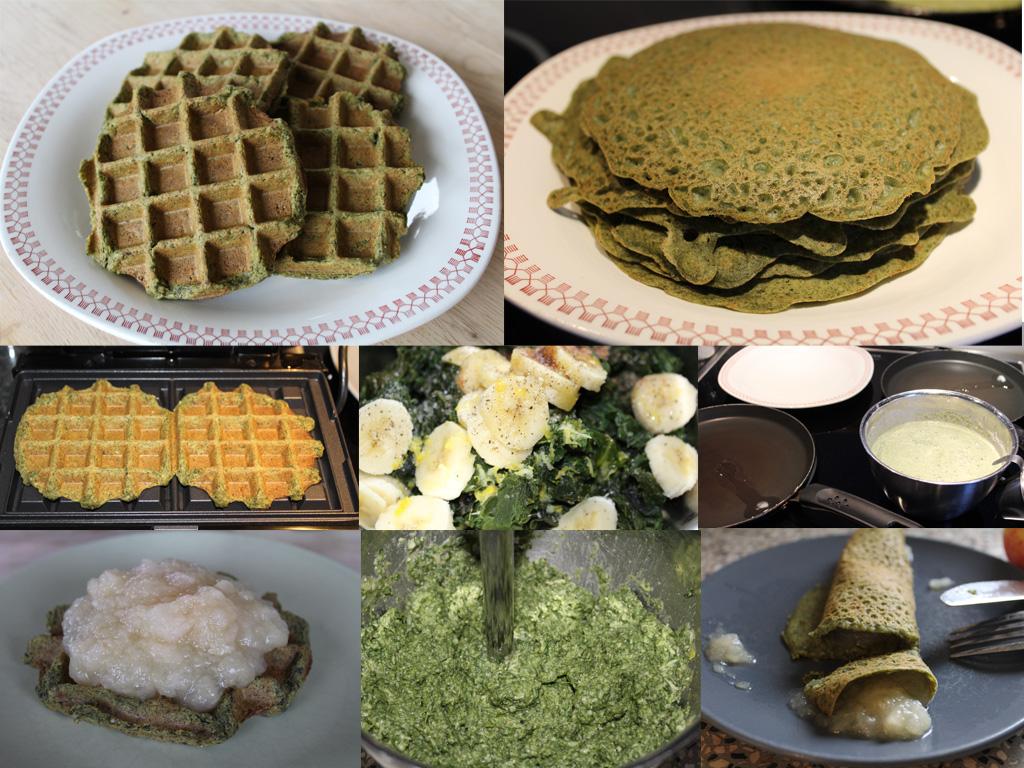Veganske spinatvafler og spinatpandekager med æblegrød