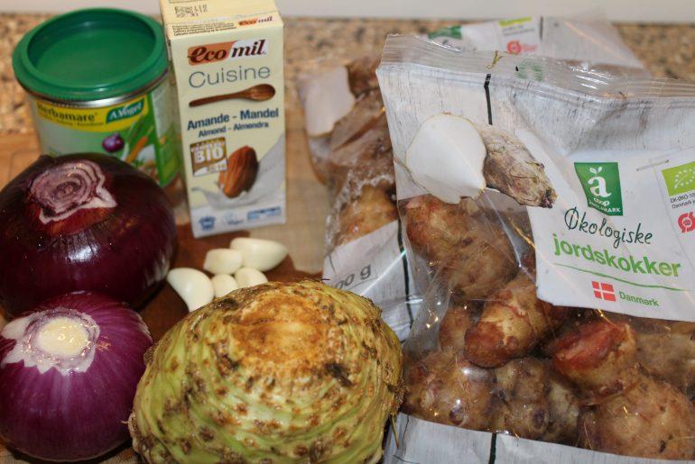 Ingredienser til jordkokkesuppe