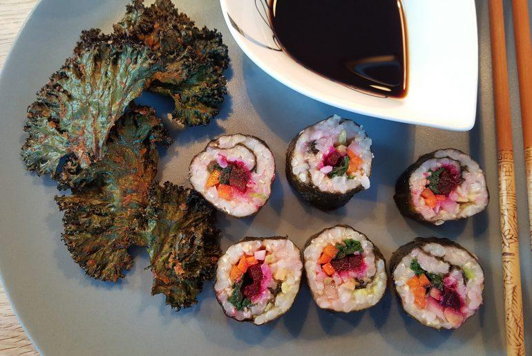 Grønkålschips og kimbap