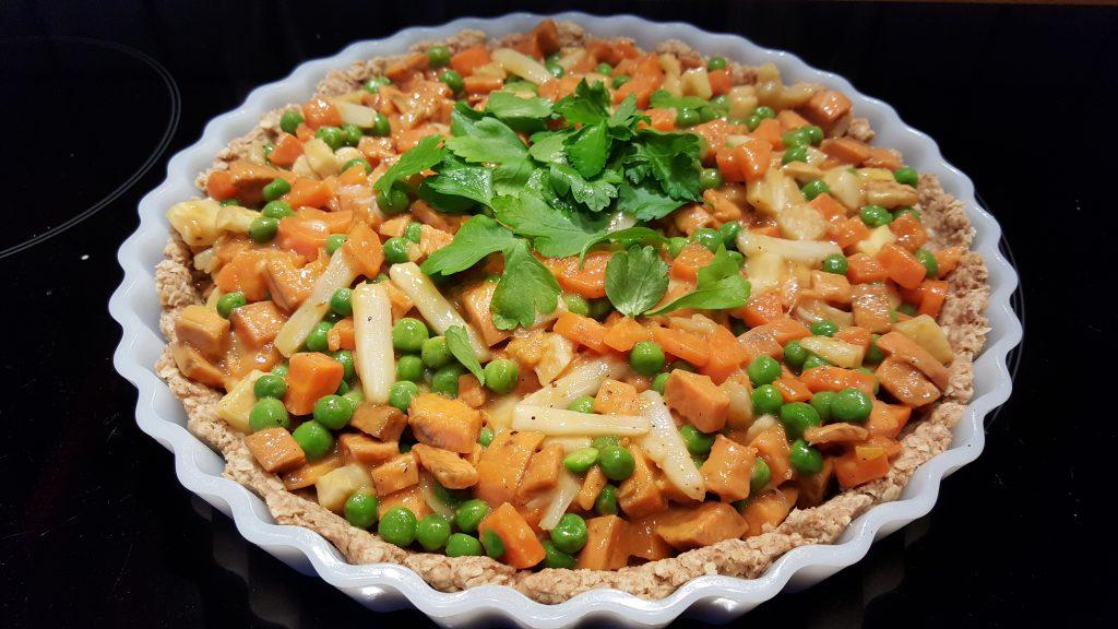 Tærtelet med grønærter, asparges og selleri.