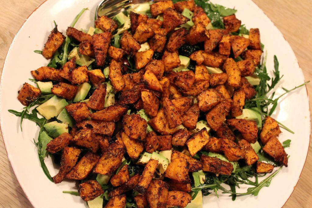 Salat med bagt butternutsquash