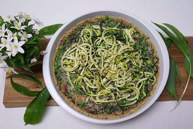 Tærtelet med spinat og svampe