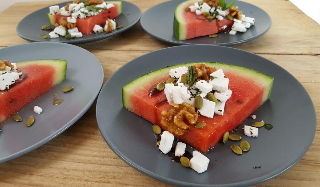 Vandmelon med feta og mynte